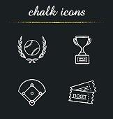 Baseball championship chalk icons set. Vector. Softball ball in laurel wreath, field, game tickets, winner's trophy