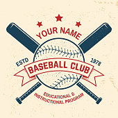 Baseball club badge. Vector illustration. Concept for shirt or logo, print, stamp or tee. Vintage typography design with baseball bats and ball for baseball silhouette.