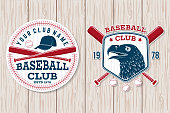 Set of baseball club badge. Vector illustration. Concept for shirt or logo, print, stamp, patch or tee. Vintage typography design with baseball bats, cap, eagle and ball for baseball silhouette.