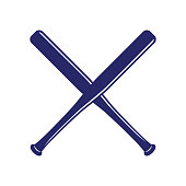 Baseball crossed bats. Criss cross bats. Baseball flat vector illustration