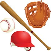 Vector illustration of a selection of baseball equipment. Includes a baseball, a wooden bat, a red batting helmet and a glove. Illustration uses radial and linear gradients. Each item is on its own la