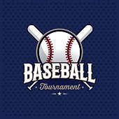 Modern professional baseball tournament symbol with ball. Sport badge for team, championship or league. Vector illustration.
