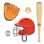 Baseball equipment set. Bat, ball, softball gloves, batting helmets. Flat vector cartoon illustration. Objects isolated on a white background.