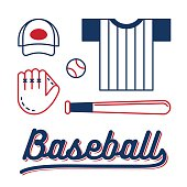Line icon set of baseball equipment and clothes with retro styled lettering. Isolated vector illustration.