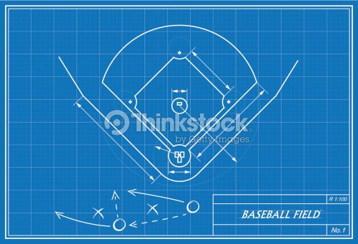 Baseball field on blueprint vector art thinkstock baseball field on blueprint vector art malvernweather Image collections
