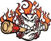 Flaming Baseball Ball Face Biting Bat Illustration Vector