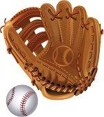 vector leather baseball glove and Ball