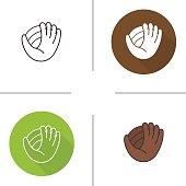 Baseball glove flat design, linear and color icons set. Softball mitt