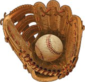 Old leather baseball glove and Ball