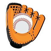 Baseball equipment. Softball glove and ball. Flat vector cartoon illustration. Objects isolated on a white background.