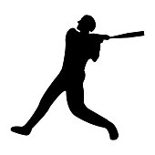 Baseball icon. Black Silhouette Sport label on white Background. Character Simple style. Vector Illustration.