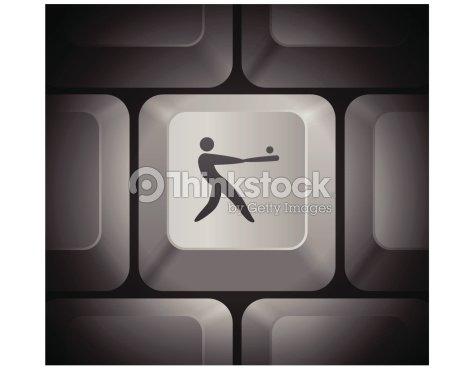 Baseball Icon On Computer Keyboard Vector Art Thinkstock