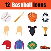 Flat design baseball icon set in ui colors. Vector illustration.