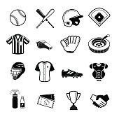 Baseball Icon, Softball Icon, Set Of 16 Baseball Softball Outline Icons. Vector