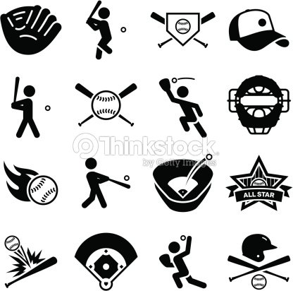 Baseball Icons - Black Series : stock vector