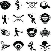 Baseball and softball icon set. Professional clip art for your print or Web project. See more icons in this series