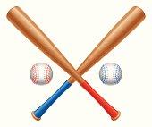 Crossed baseball bats and two baseball balls.