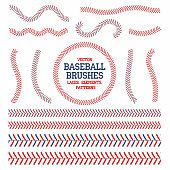 Baseball laces set. Baseball seam brushes. Red and blue stitches, laces for baseball ball decoration. Vector
