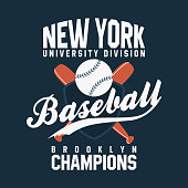 Baseball, New York. Vintage typography for t-shirt graphics. Ball with bats and shield. Vector