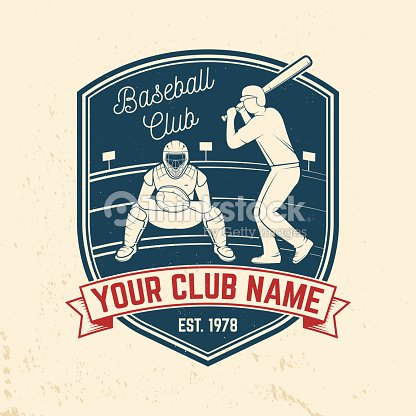 Baseball or softball club badge. Vector illustration. Concept for shirt or logo, print, stamp or tee.