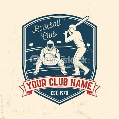 Baseball or softball club badge. Vector illustration. Concept for shirt or logo, print, stamp or tee.