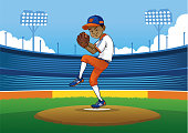 vector of baseball pitcher ready to throwing the ball