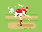 Baseball player cartoon character. Sport game, boy play, athlete in cap, vector illustration