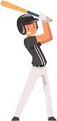 Baseball Player Hitting Ball with Baseball Bat, Softball Athlete Character in Uniform Vector Illustration on White Background