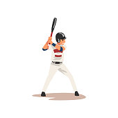 Baseball Player Swinging Bat Hitting Ball, Softball Athlete Character in Uniform Vector Illustration on White Background