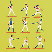 Baseball Players In Different Poses set, Softball Male Athletes Characters in Uniform Vector Illustration on Yellow Green Background
