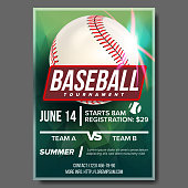 Baseball Poster Vector. Baseball Ball. Design For Sport Bar Promotion. Baseball Club, Academy Flyer. Game Tournament Announce. Invitation Template Illustration