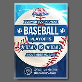 Baseball Poster Vector. Sports Bar Event Announcement. Ball. Banner Advertising. Professional League. Event Template Illustration