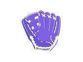 Baseball protection glove. Vector illustration. Blue baseball glove isolated on white background