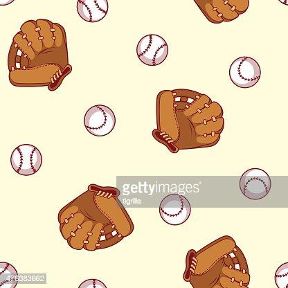 Baseball seamless pattern. Glove and ball for a baseball. : stock vector