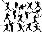 Baseball players silhouettes