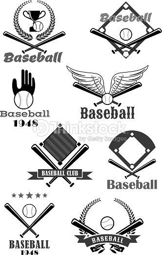 Baseball sport club symbol design with bat, ball