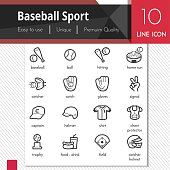 Baseball sport elements vector black icons set on white background. Premium quality outline symbol collection. Stroke vector logo concept, web graphics.