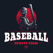Baseball sports team club emblem engraved retro vintage logo graphic design template with game player silhouette isolated on black background Vector stamp illustration for championship league badge