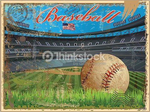 Baseball stadium and ball in a vintage postcard