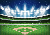 Baseball Stadium with Neon Lights. Arena. Vector Illustration.