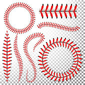 Baseball Stitches Vector Set. Baseball Red Lace Isolated