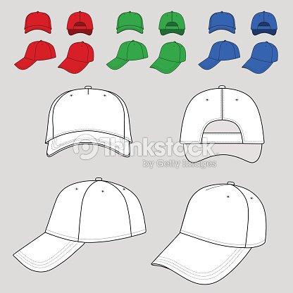 Baseball Und Tennis Cap Stickerei Farbige Vorlage Vektorgrafik ...