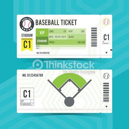 baseball ticket card modern element design vector art thinkstock