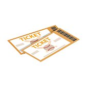 Baseball tickets isometric 3d icon on a white background