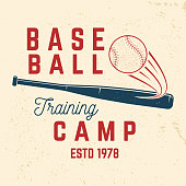 Baseball training camp. Vector illustration. Concept for shirt or logo, print, stamp or tee. Vintage typography design with baseball bat and ball for baseball silhouette.