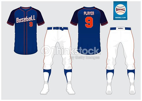 Baseball Uniform Sport Jersey T Shirt Short Sock Template Mock Up Front And Back View Flat Logo On Blue