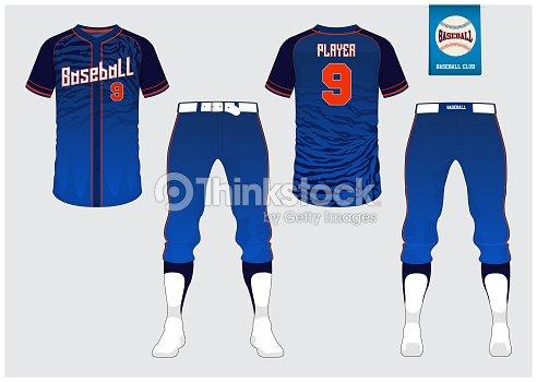 Camiseta de béisbol mock up. Frente y parte posterior ven el uniforme de  deporte. Logo de béisbol planas en etiqueta azul. 32b818c3dff