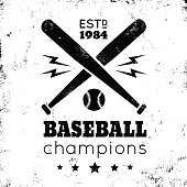 Logo for baseball on grunge background