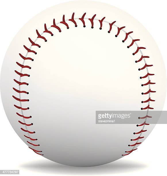 Baseball with red lacing on white background