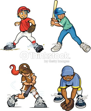 Baseball Youth League Players Vector Art | Thinkstock